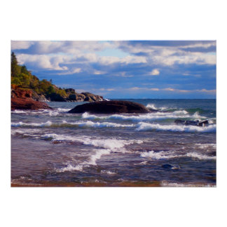 Waves On Lake Superior Poster