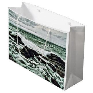 Waves on rocks large gift bag