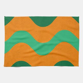 Waves Orange-Green American MoJo Kitchen Towels