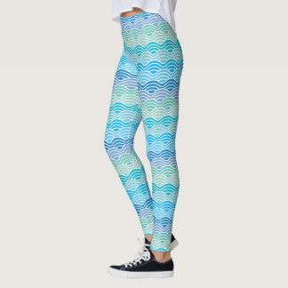 Waves Pattern Modern Ocean Blue Green Leggings