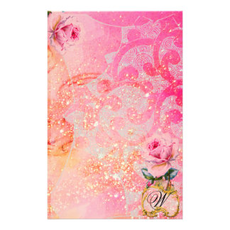 WAVES ,PINK ROSES IN GOLD SPARKLES AND SWIRLS CUSTOM STATIONERY