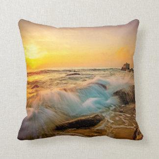 WAVES & ROCKS Sunset Seascape Cushion