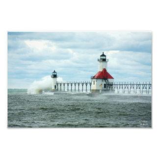 Waves Splash Lake Michigan Hurricane Sandy Print
