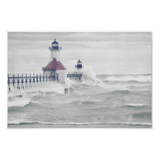 Waves Splash Lake Michigan Lighthouse Superstorm Photo Print