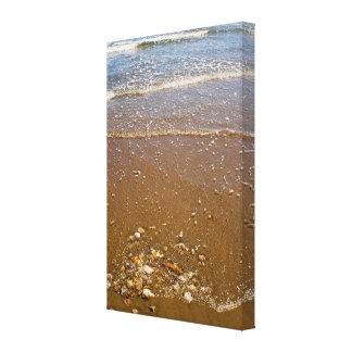 Waves Splashing Against Pebbles on a Beach Canvas