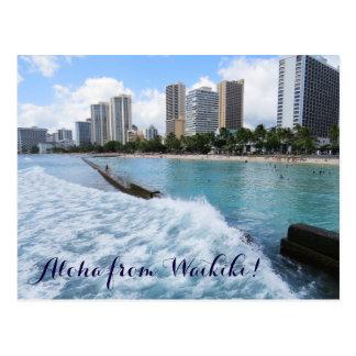 Waves Waikiki Beach Honolulu Hawaii Pacific Ocean Postcard