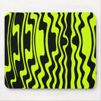 Wavey Stripey - Black and Green I Mouse Pad