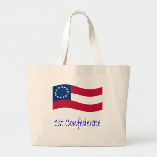 Waving 1st Confederate Flag And Name Jumbo Tote Bag