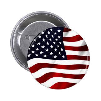 Waving American Flag 6 Cm Round Badge
