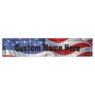 Waving American Flag Patriotic Nameplate