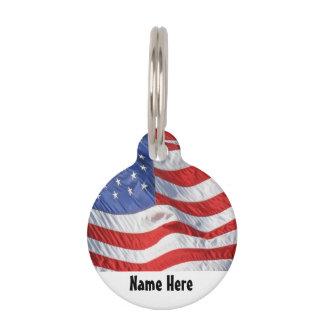 Waving American Flag Patriotic Pet Tag