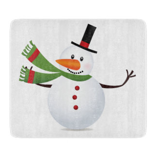 Waving Carrot Nose Snowman Cutting Board