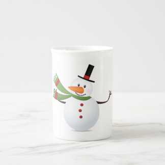 Waving Carrot Nose Snowman Porcelain Mugs