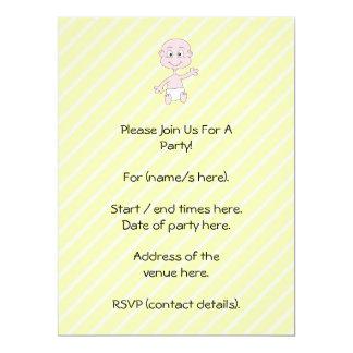 Waving Cute Baby, on yellow stripes. Custom 17 Cm X 22 Cm Invitation Card