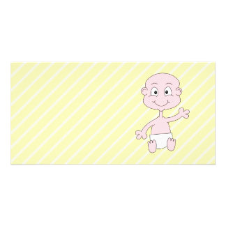 Waving Cute Baby, on yellow stripes. Picture Card