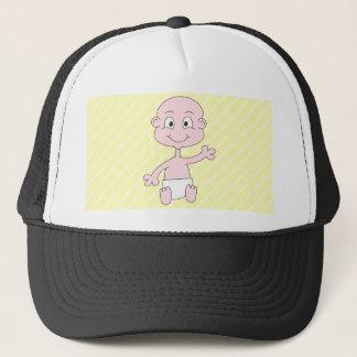Waving Cute on yellow stripes. Custom Trucker Hat