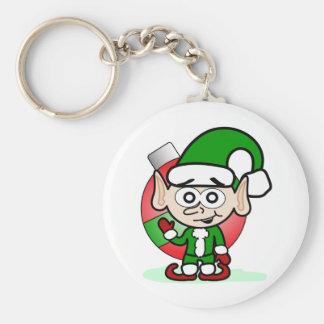 Waving Elf Basic Round Button Key Ring