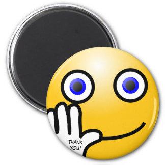 Waving emoticon thank you! 6 cm round magnet