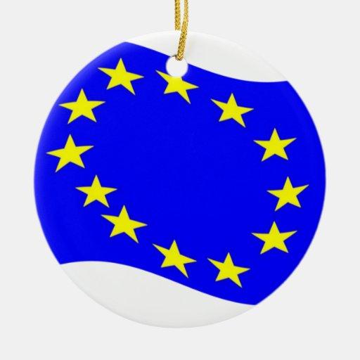 Waving European Union Flag Christmas Ornament