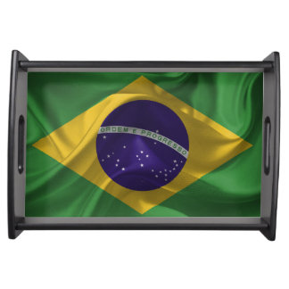 Waving fabric national flag of Brazil Serving Tray