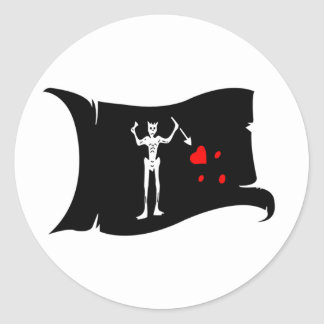 Waving Flag  #1 Blackbeard Classic Round Sticker