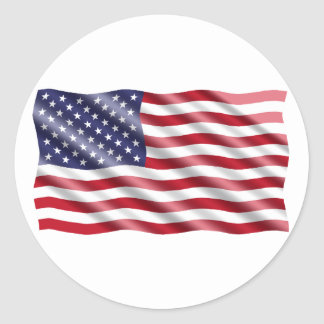 Waving Flag Classic Round Sticker