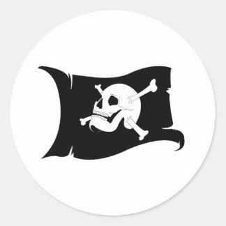 Waving Flag Jolly Roger #2 Round Sticker