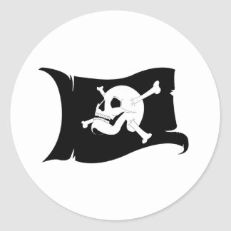 Waving Flag Jolly Roger #2 Round Stickers