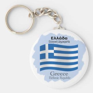 Waving Flag of Greece Keychain