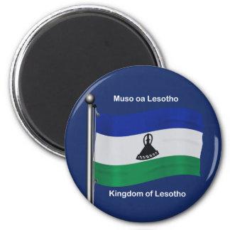 Waving Flag of Lesotho 6 Cm Round Magnet