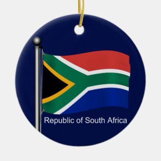 Waving Flag of South Africa Ceramic Ornament