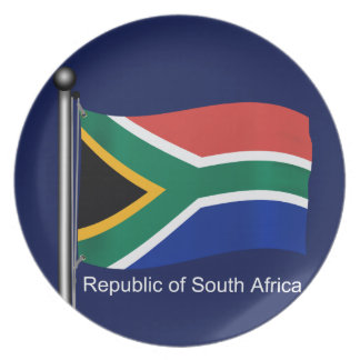 Waving Flag of South Africa Plate