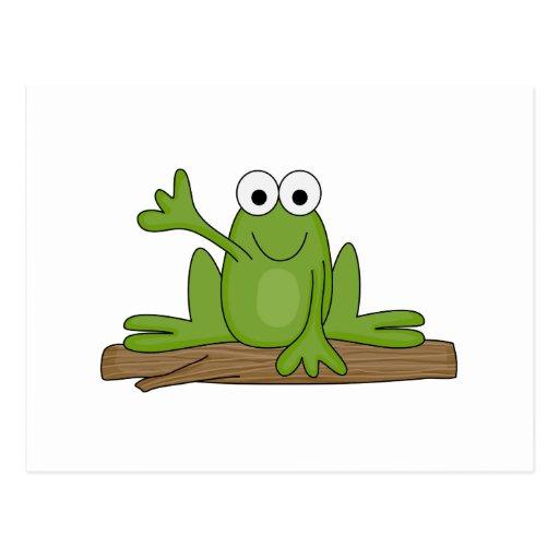 waving froggy frog postcard
