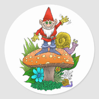 Waving Gnome.jpg Classic Round Sticker