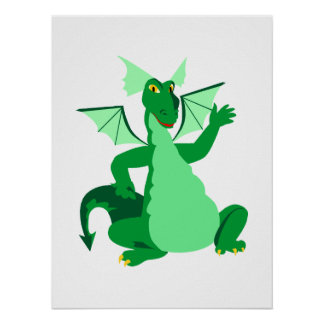 Waving Green Dragon Poster