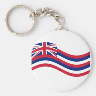 Waving Hawaii Flag Basic Round Button Key Ring