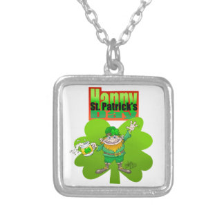 Waving Leprechaun on a clover, on a necklace. Square Pendant Necklace
