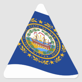 Waving New Hampshire Flag Triangle Sticker
