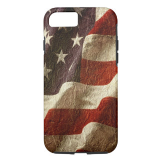 Waving Patriotic American Flag Carved in Stone iPhone 7 Case