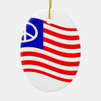 Waving Peace USA Flag Ornaments