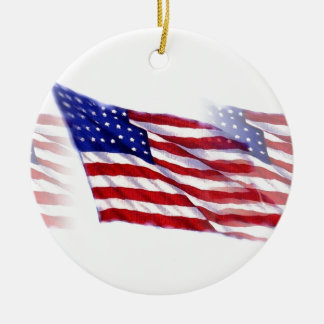 Waving US Flag Round Ceramic Decoration