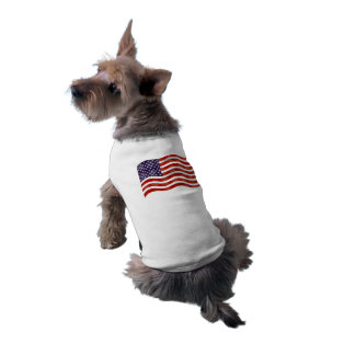Wavy American Flag, 4th of July Independence Day Sleeveless Dog Shirt
