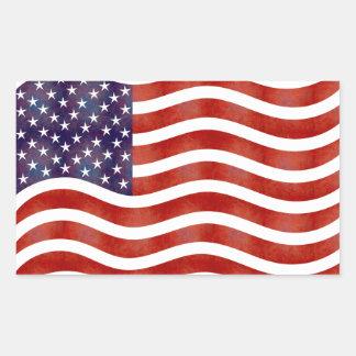 Wavy American Flag, USA Rectangular Sticker