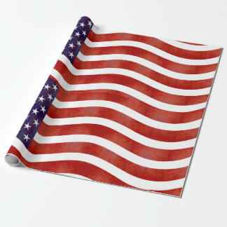 Wavy American Flag, USA Wrapping Paper