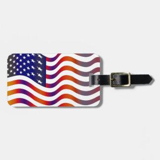 WAVY AMERICAN SYMBOL FLAG, AMERICAN FLAG TAG BAG TAGS