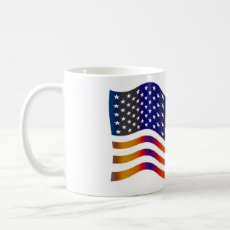 WAVY AMERIICAN SYMBOL FLAG, AMERICAN FLAG GIFT BASIC WHITE MUG
