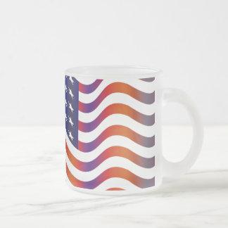 WAVY AMERIICAN SYMBOL FLAG, AMERICAN FLAG GIFT FROSTED GLASS MUG