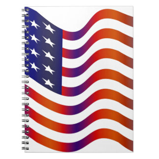 WAVY AMERIICAN SYMBOL FLAG, AMERICAN FLAG GIFT NOTE BOOK