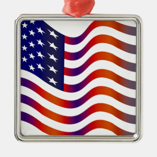 WAVY AMERIICAN SYMBOL FLAG, AMERICAN FLAG GIFT Silver-Colored SQUARE DECORATION