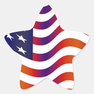 WAVY AMERIICAN SYMBOL FLAG, AMERICAN FLAG GIFT STAR STICKER